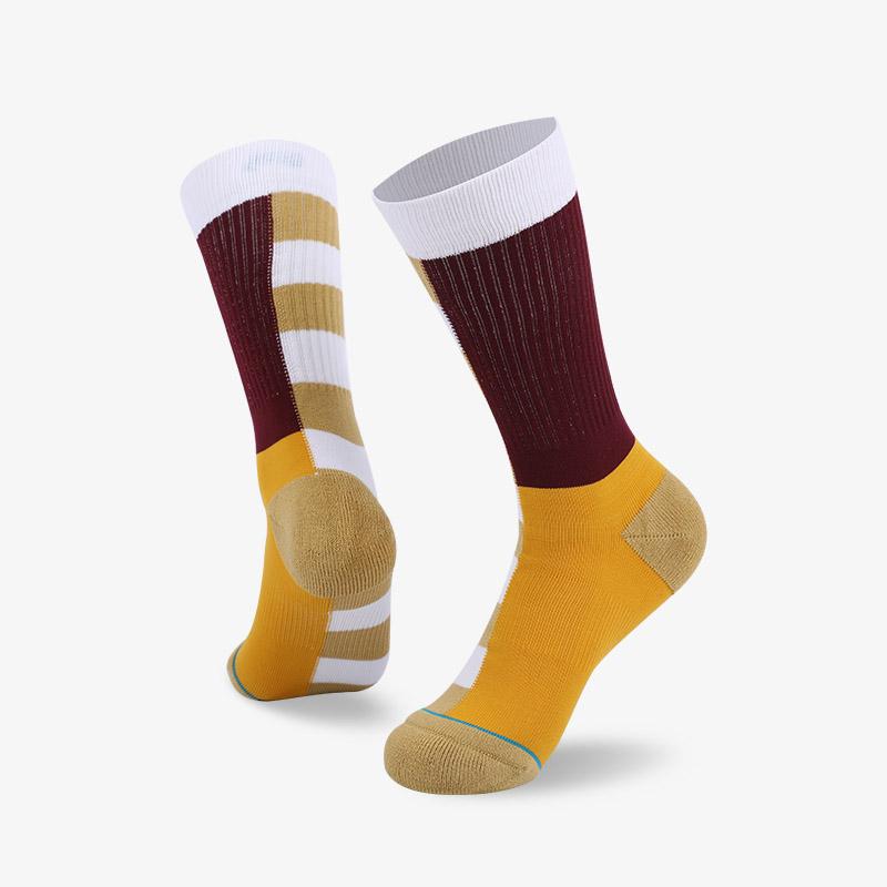 144N 黄底棕身普通袜