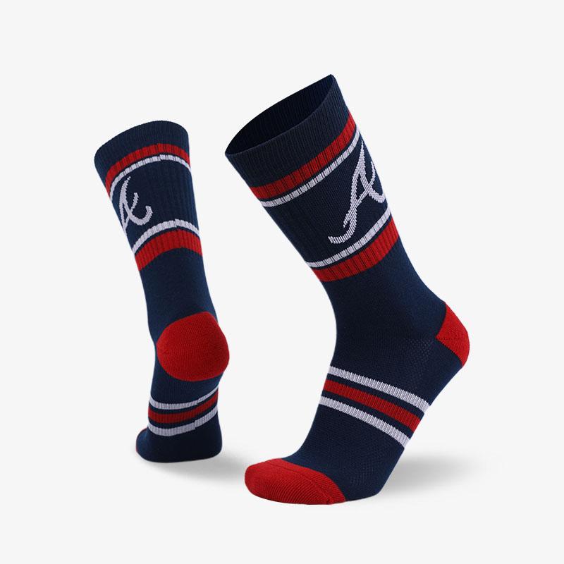 144N 蓝底红条纹普通袜