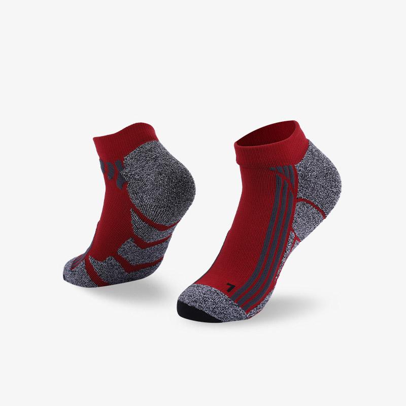 144N 灰红运动短袜
