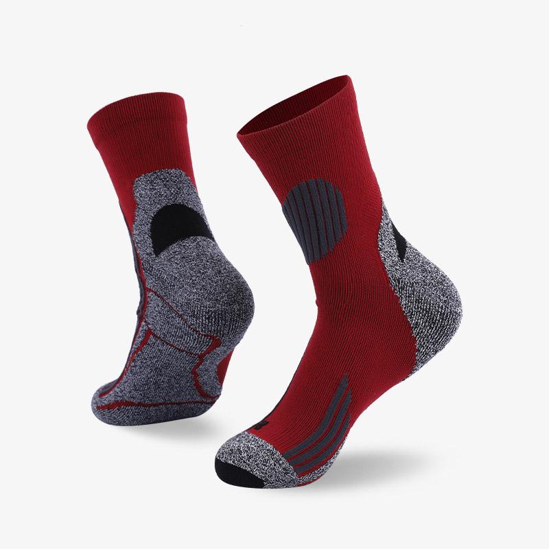 144N 灰红色运动中袜