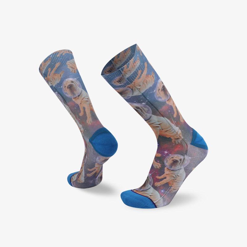 144N 宇宙太空狗印花袜