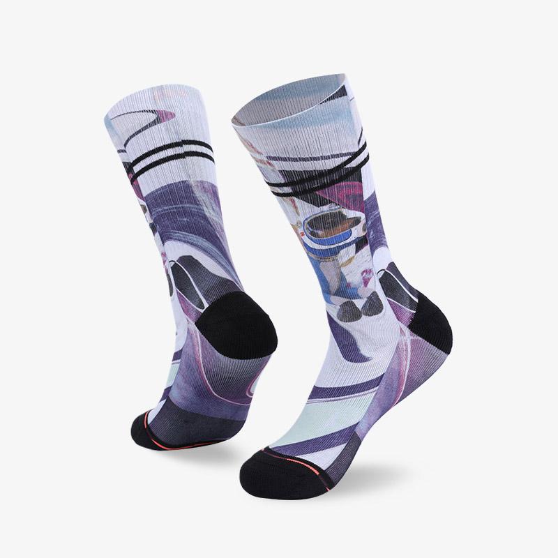 144N 浅紫色印花袜