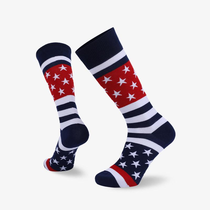 168N 黑红白色平板绅士国旗袜