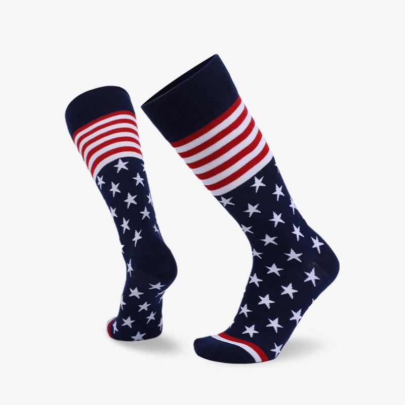 168N 蓝底白星星平板绅士国旗袜