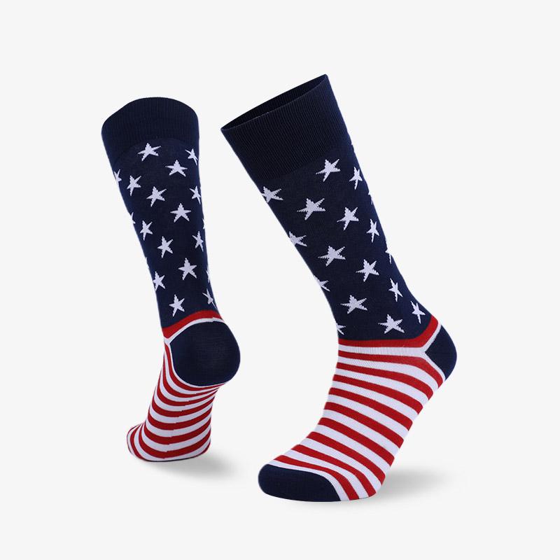 168N 红白条纹白星星平板绅士国旗袜