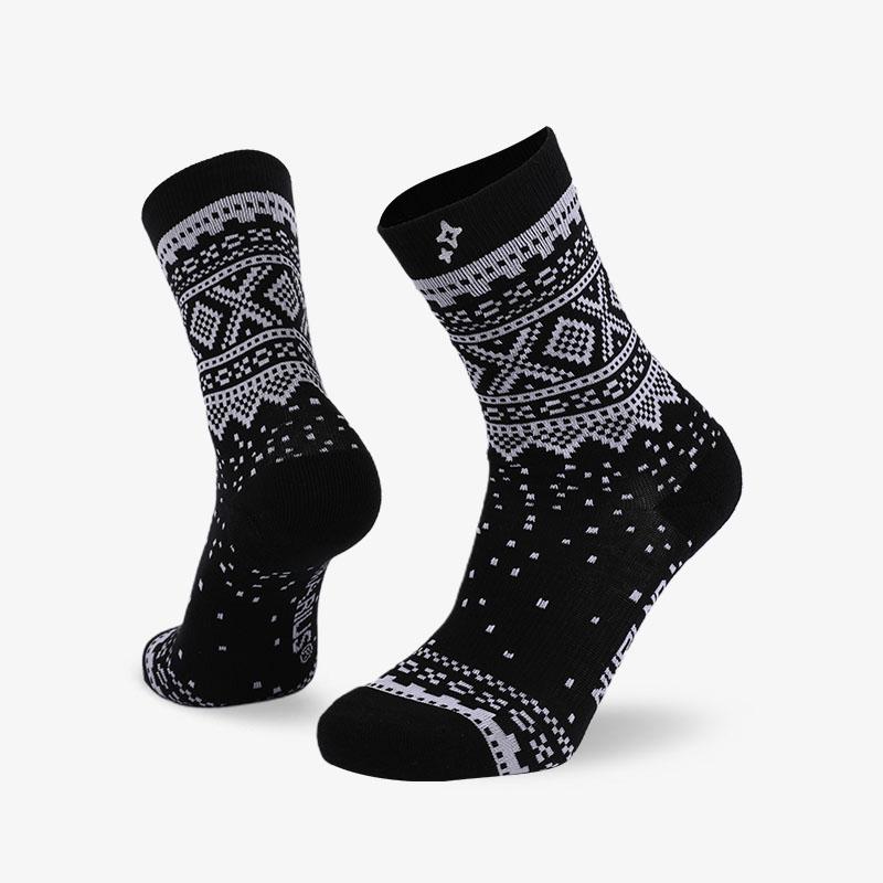 168N 黑底白点普通袜