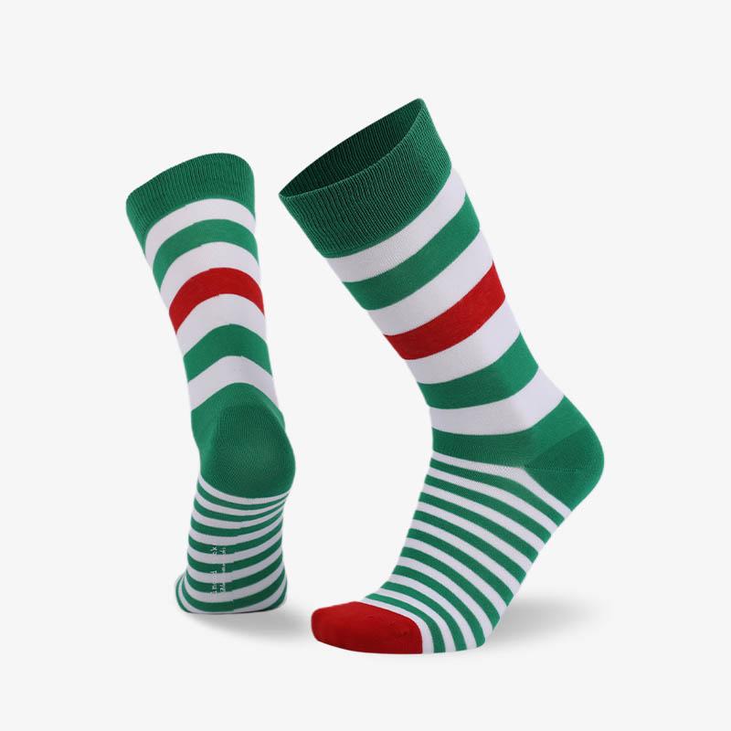 200N 绿白条纹普通袜