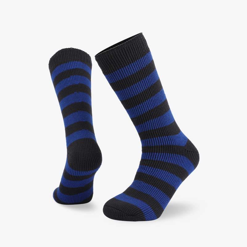 72N 黑蓝条纹家居保暖拉绒袜